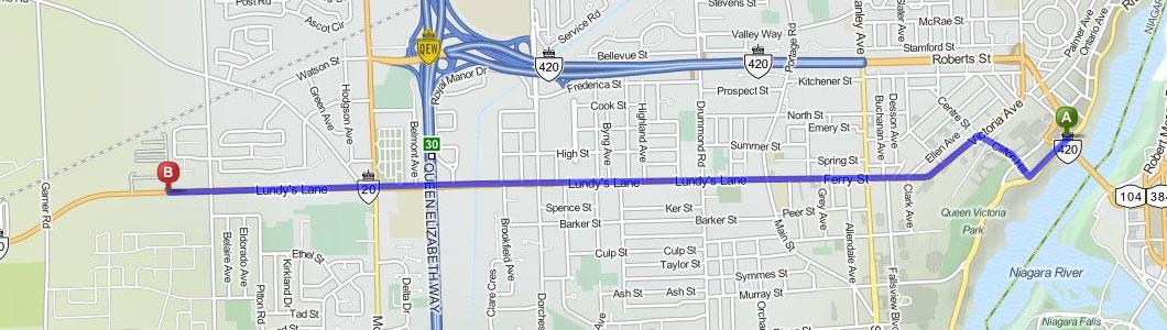 directions from rainbow bridge to americana resort